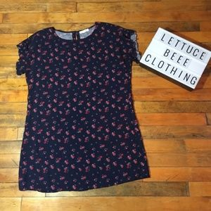 Beach Lunch Lounge Navy blue floral dress large